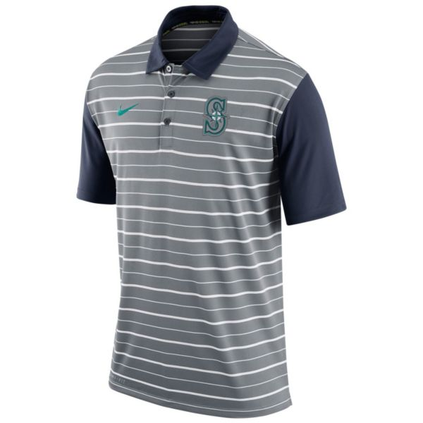 Men's Nike Seattle Mariners Striped Dri-FIT Performance Polo