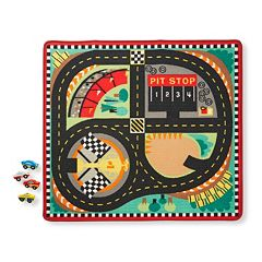 Melissa & Doug Round the Speedway Race Track Rug & Car Set by