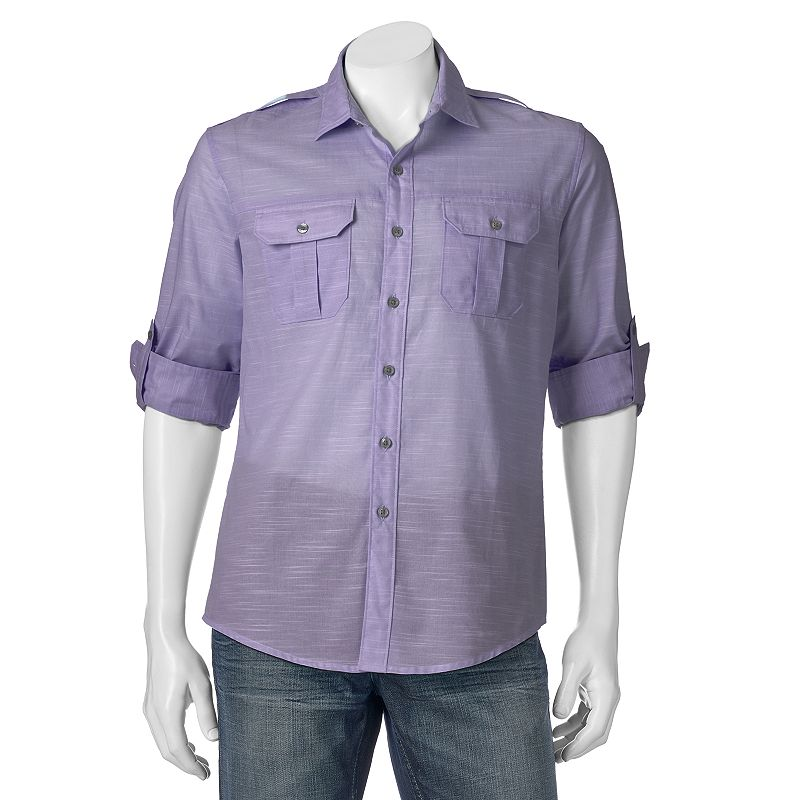 Men's Apt. 9® Modern-Fit Slubbed Roll-Tab Button-Down Shirt
