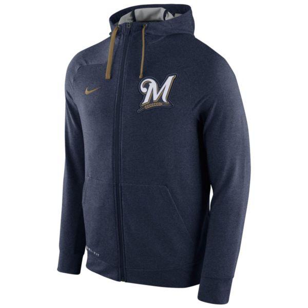 Men's Nike Milwaukee Brewers Dri-FIT Full-Zip Hoodie