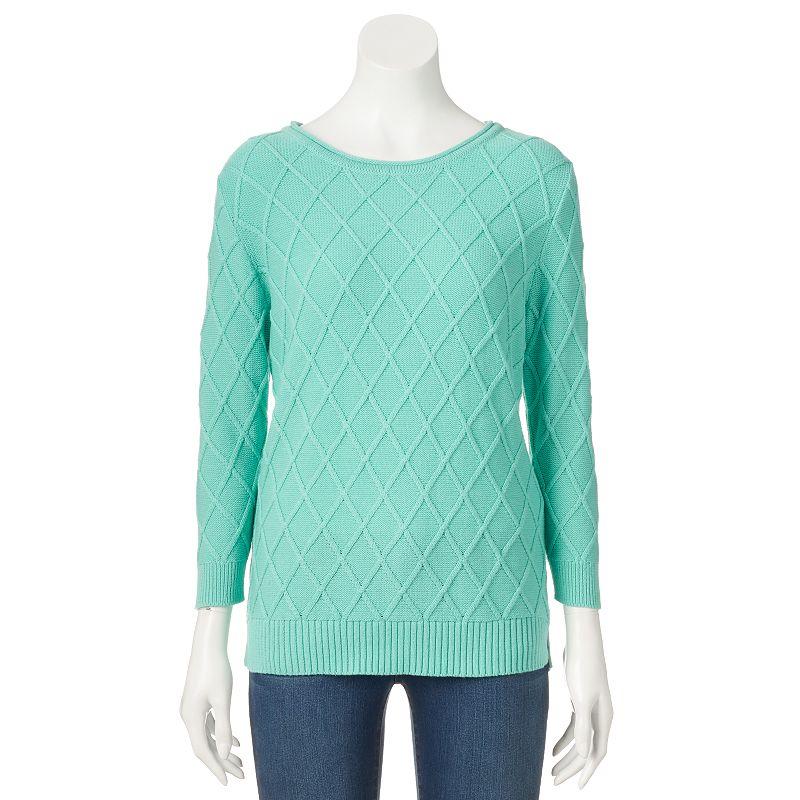 Women's Croft & Barrow® Cable-Knit Scoopneck Sweater