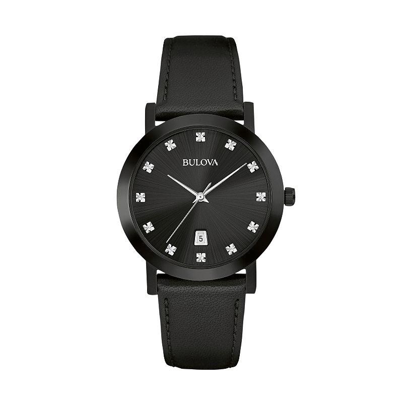 Bulova Men's Diamond Leather Watch - 98D124