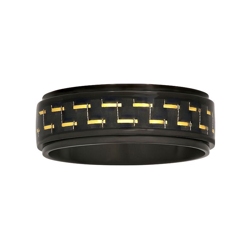 Men's Stainless Steel Carbon Fiber Ring