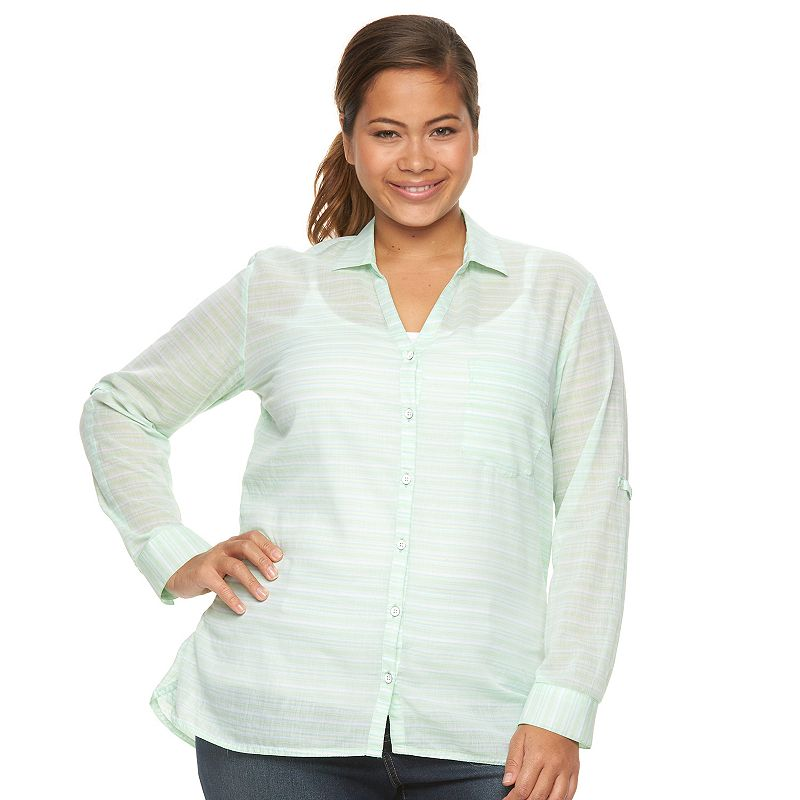 Plus Size Columbia Wiley Mesa Striped Roll-Tab Shirt