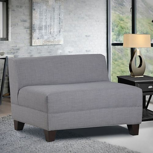 Carolina Accents Makenzie Classic Armless Loveseat Grey Price Tracking