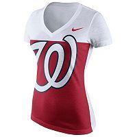 Women's Nike Washington Nationals Blocked Logo Tri-Blend Tee