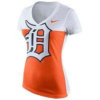 Women's Nike Detroit Tigers Blocked Logo Tri-Blend Tee