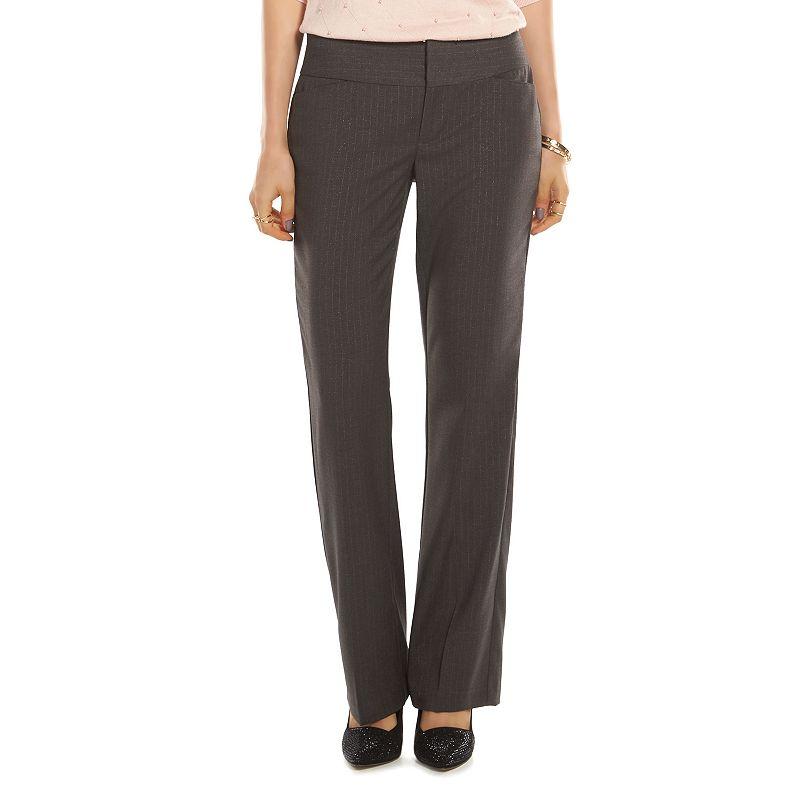 ELLE™ Curvy Fit Lurex-Stripe Bootcut Dress Pants - Women's
