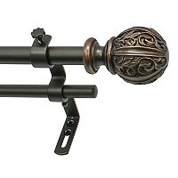 Decopolitan Leaf Ball Adjustable Double Curtain Rod