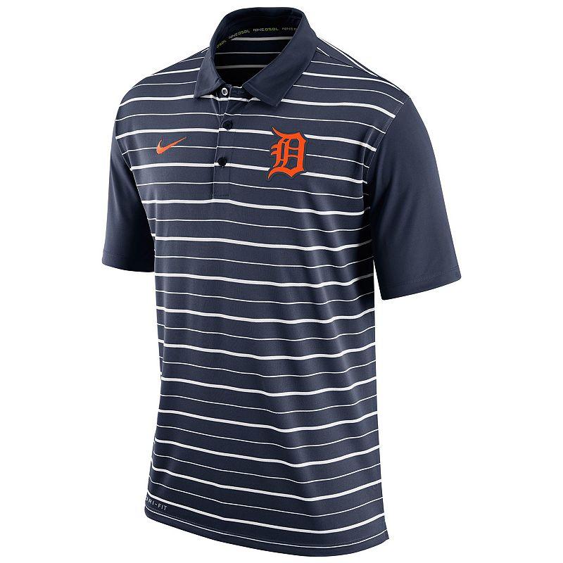Men's Nike Detroit Tigers Striped Dri-FIT Performance Polo