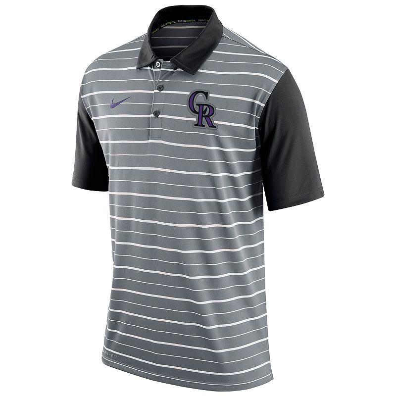 Men's Nike Colorado Rockies Striped Dri-FIT Performance Polo