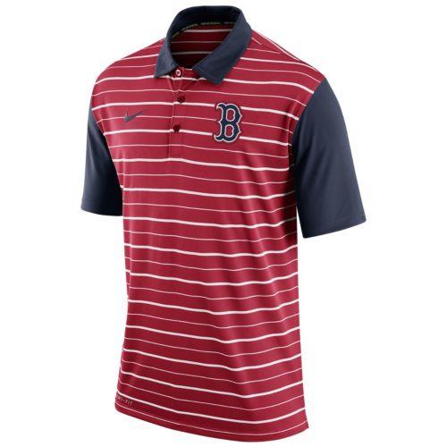 Men's Nike Boston Red Sox Striped Dri-FIT Performance Polo