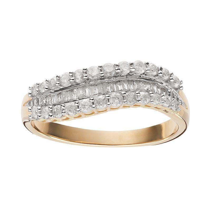 1/2 Carat T.W. Diamond 10k Gold Wavy Ring