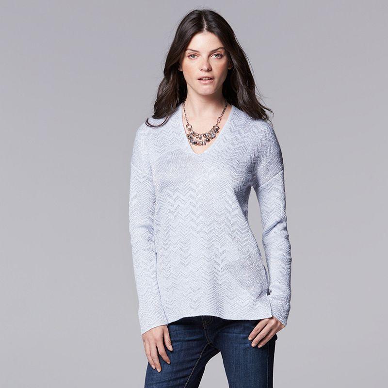 Women's Simply Vera Vera Wang Herringbone V-Neck Sweater