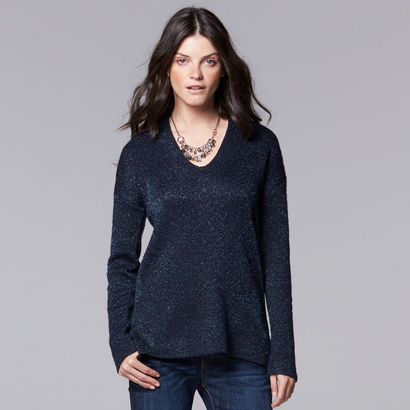 Women's Simply Vera Vera Wang Herringbone V-Neck Sweater