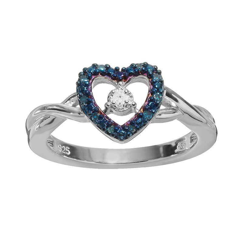 Blue & White Diamond Accent Sterling Silver Heart Promise Ring
