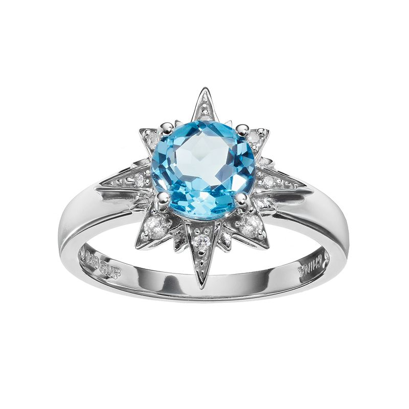 Sparkle Gem Sterling Silver Blue Topaz & Cubic Zirconia Starburst Ring