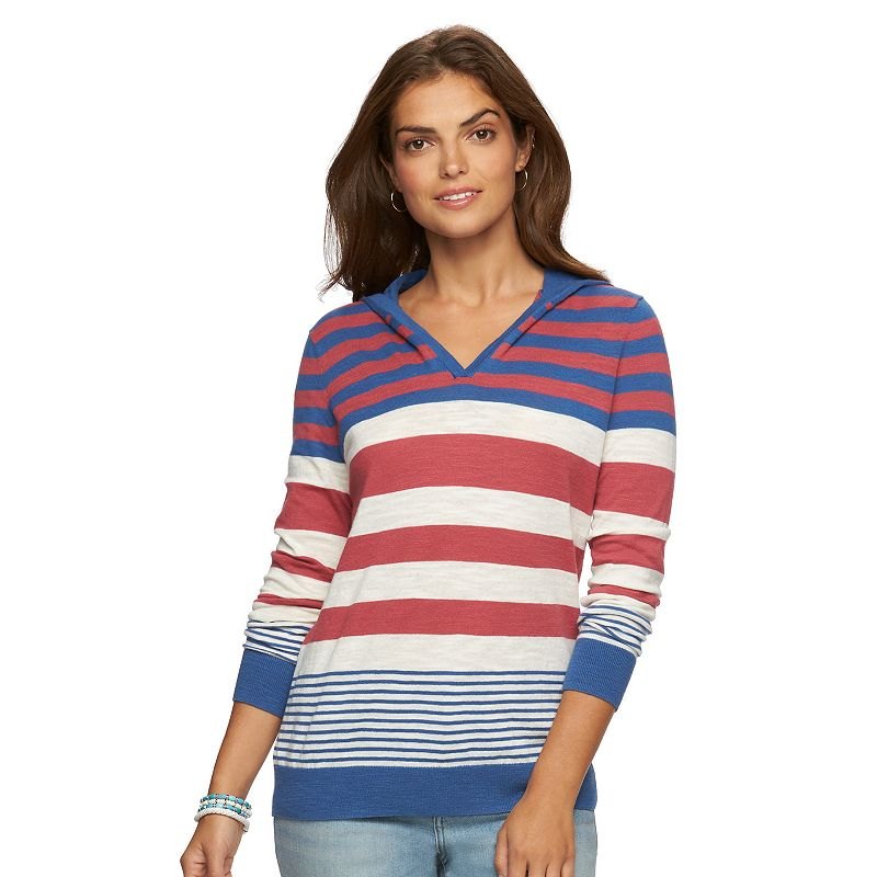 Women's Chaps Striped Hooded Sweater