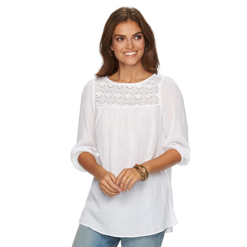 Women's Chaps Lace-Yoke Crinkle Top