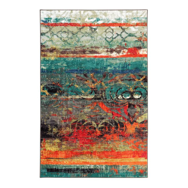 MOHAWK HOME ERODED COLOR ABSTRACT INDOOR OUTDOOR RUG BLUE