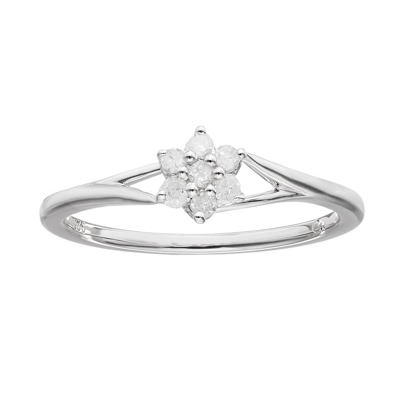 I Promise You 1/10 Carat T.W. Diamond Sterling Silver Flower Promise Ring