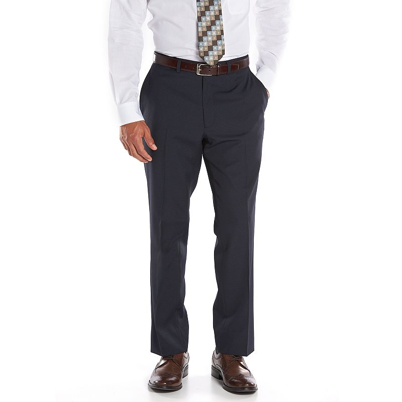 Men's Billy London Slim-Fit Navy Mini-Checked Suit Pants