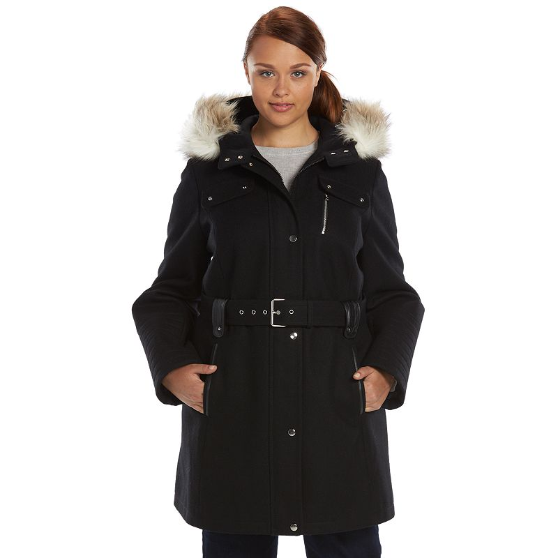 Plus Size Apt. 9® Belted Wool-Blend Peacoat