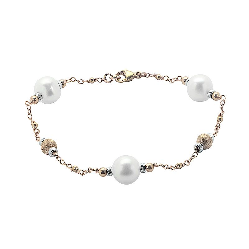 PearLustre by Imperial Freshwater Cultured Pearl 14k Rose Gold Two Tone Bead Station Bracelet