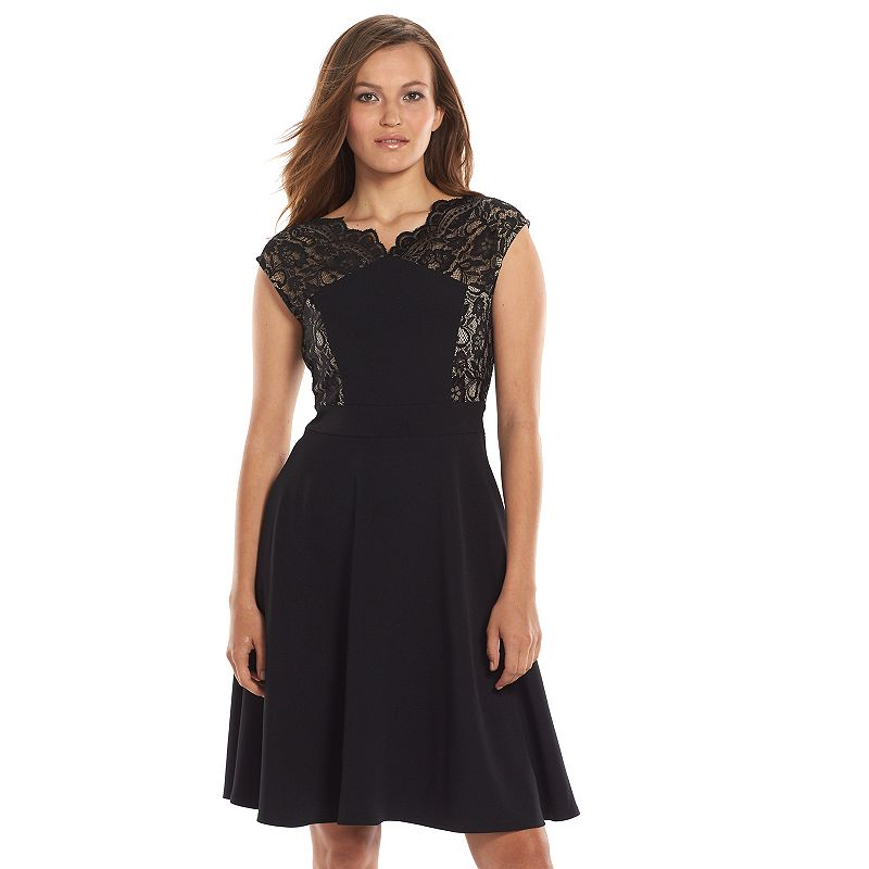 Suite 7 Scalloped Lace Fit & Flare Dress