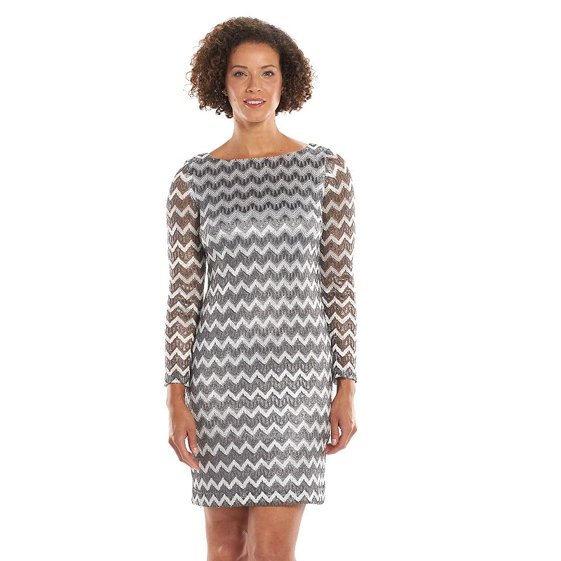 Jessica Howard Chevron Lace Shift Dress - Women's
