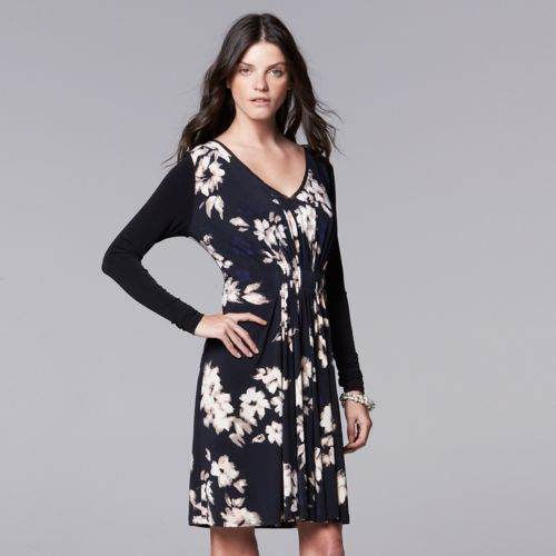 Women's Simply Vera Vera Wang Pleated Floral Shift Dress