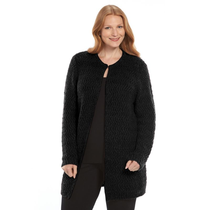 Plus Size Croft & Barrow Textured Flyaway Cardigan, Women's, Size: 1X, Black