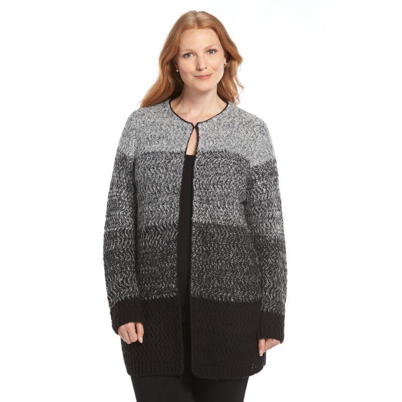 Plus Size Croft & Barrow Textured Flyaway Cardigan, Women's, Size: 1X, Black