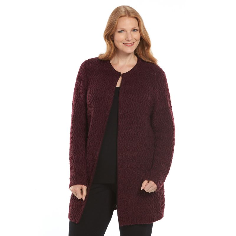 Plus Size Croft & Barrow Textured Flyaway Cardigan, Women's, Size: 1X, Purple