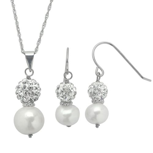PearLustre by Imperial Freshwater Cultured Pearl & Crystal Sterling Silver Ball Pendant Necklace & Drop Earring Set