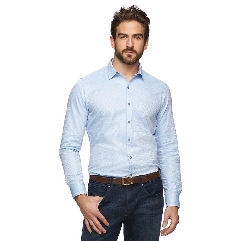 Men's Slim-Fit Diamond Textured Dobby Button-Down Shirt