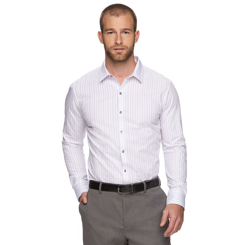 Men's Slim-Fit Dobby-Striped Button-Down Shirt