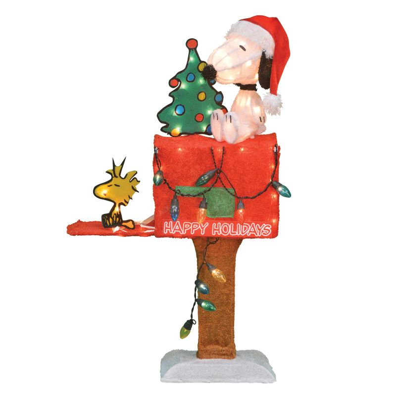 Light-Up Peanuts Snoopy Mailbox Christmas Decor by Candy Cane Lane (Copper)