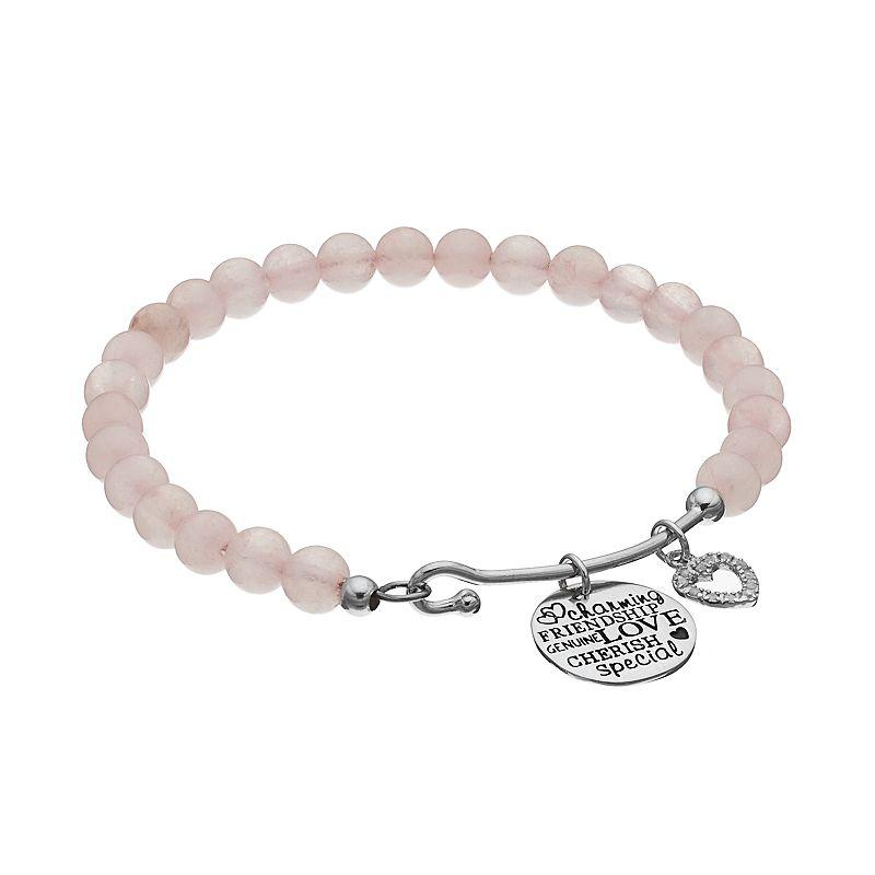 CHARMED BY DIAMONDS Rose Quartz Bead & 1/4 Carat T.W. Diamond Heart Charm Bracelet