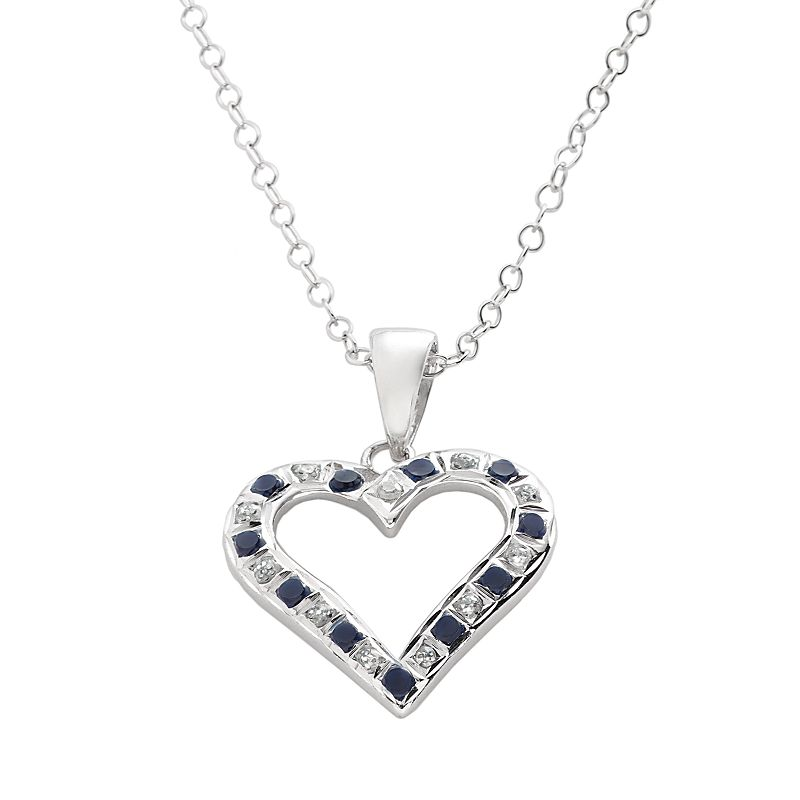 Diamond Mystique Sapphire Platinum Over Silver Heart Pendant Necklace