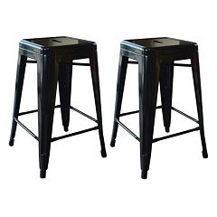 AmeriHome 2-piece Loft 24-in. Metal Counter Stool Set by