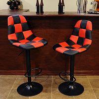 AmeriHome 2-piece Checkered Racing Bar Chair Set