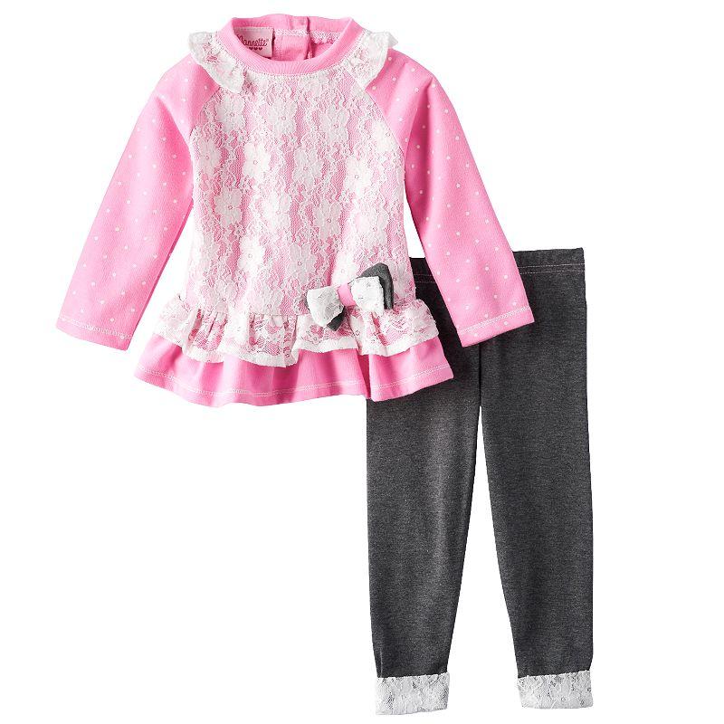 Nannette Floral Lace Top & Leggings Set - Baby Girl