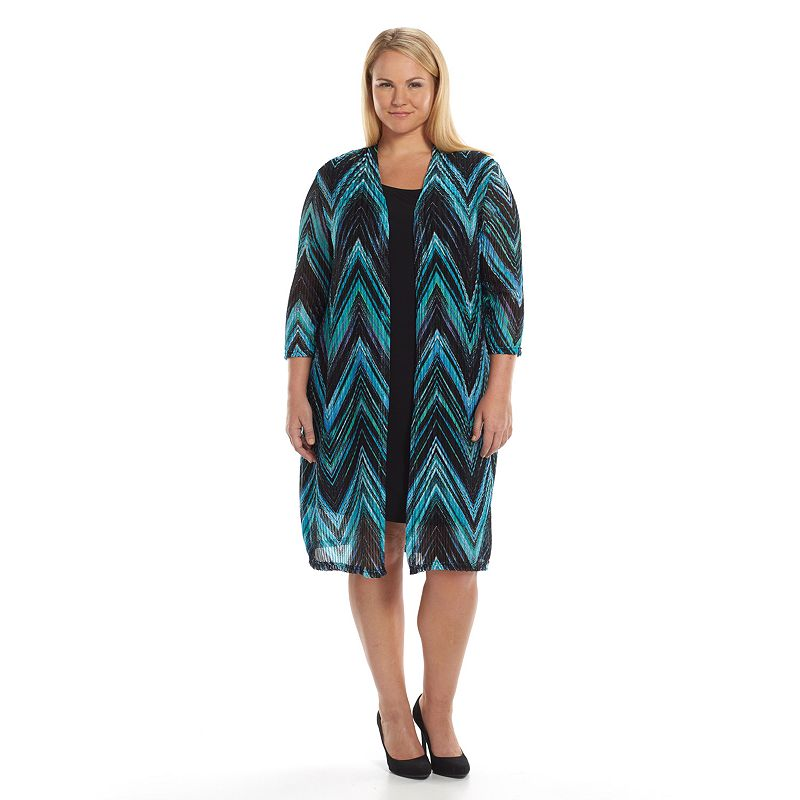 Plus Size Connected Apparel Chevron Mock-Layer Dress