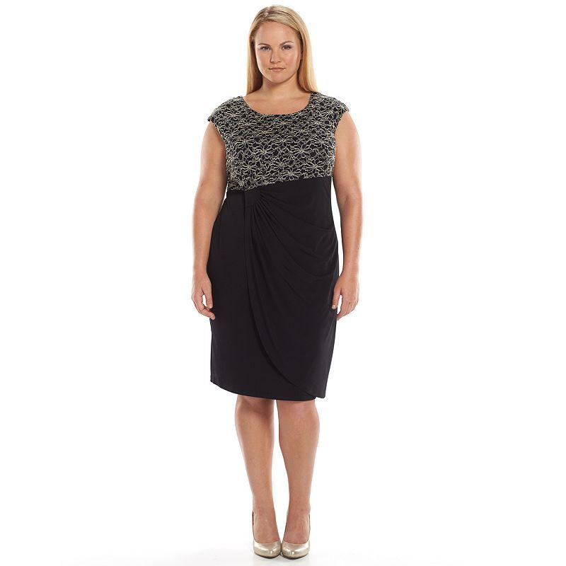 Plus Size Connected Apparel Pleated Lace Faux-Wrap Dress