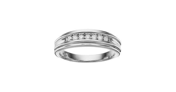 I promise you men 39 s sterling silver 1 4 carat t w diamond for Kohls jewelry mens rings