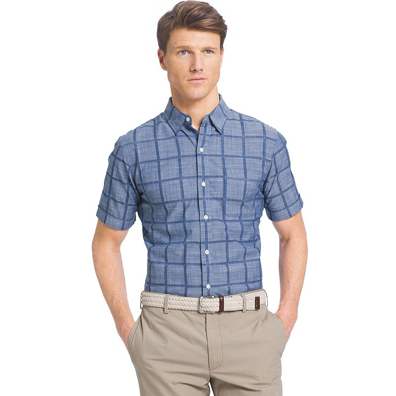 Men's IZOD Classic-Fit Windowpane Button-Down Shirt