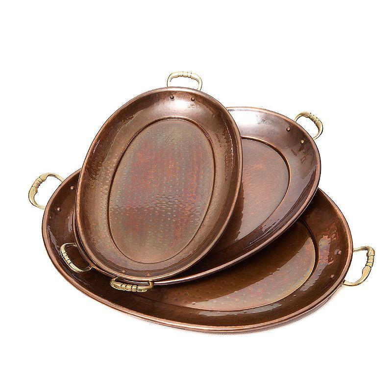 Old Dutch Antique Décor 3-pc. Copper Oval Serving Tray Set
