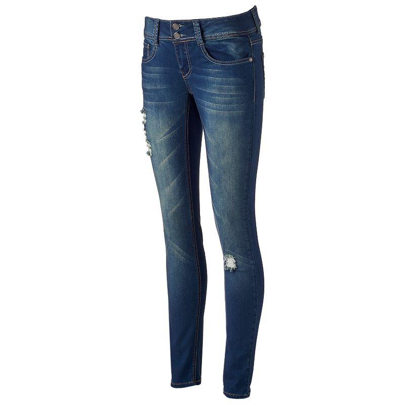 Rampage Chloe Curvy Skinny Destructed Jeans - Juniors (Blue)