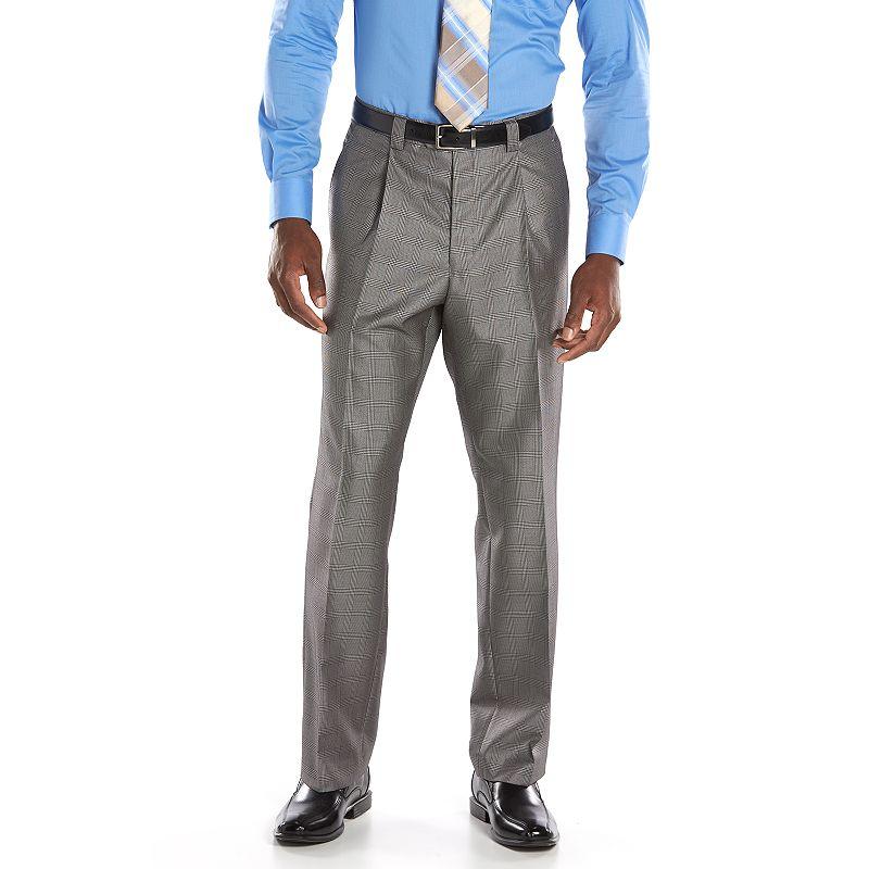 Men's Steve Harvey Classic-Fit Gray Plaid Pleated Suit Pants